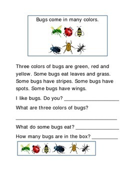 Bugs Following Directions Comprehension Emergent Reader Printable Literacy