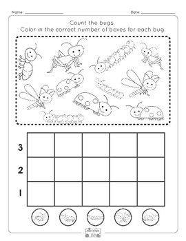 Bugs Graphing Worksheets to 3, 5, 10 and 20 - 1st Grade and Kindergarten Math