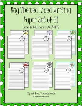 Bugs Insect Themed Lined Writing Paper Set of 6 Color & BW