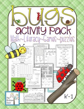 Bugs & Insects Activity Pack Set Math Literacy Games Puzzles Centers