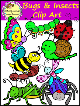 Bugs & Insects Clip Art - ant,butterfly,bee,caterpillar and more (School Design)