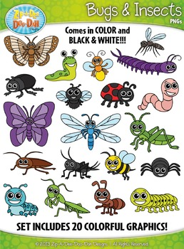 Bugs & Insects Clipart Set — Includes 40 Graphics!