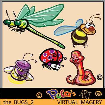 Bugs Insects Color and Black Line Clip Art