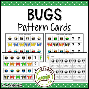 Bugs Insects Pattern Cards - Math, Pre-K Preschool
