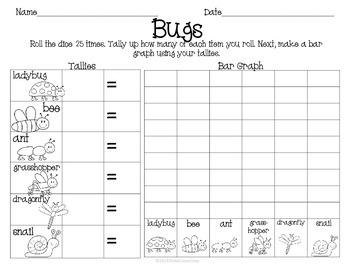 Bugs Insects Roll Tally Graph Math Center Activity Set