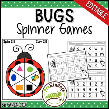 Bugs Insects Spinner Games - Math & Literacy, Pre-K Preschool