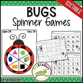 Bugs Insects Spinner Games - Math & Literacy, Pre-K Preschool | EDITABLE
