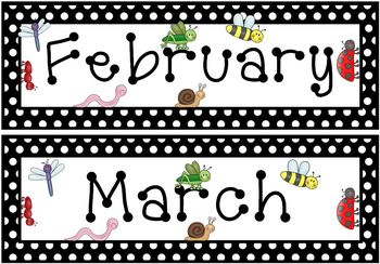 Bugs Insects Wall Calendar or Pocket Chart Set