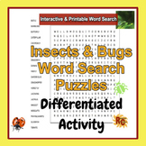 Bugs & Insects Interactive & Printable Word Search Puzzles