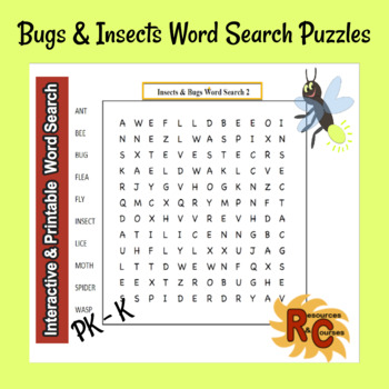 Bugs & Insects Word Search Puzzles for Kids PK-K
