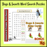 Bugs & Insects Interactive & Printable Word Search Puzzles PK-K