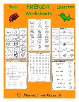 Bugs / Les insectes FRENCH Worksheets