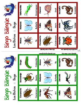 Bugs - Los insectos - Bingo Bilingüe - Bilingual bingo