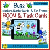 Bugs Numbers, Number Words & Ten Frames BOOM & Task Cards Match Game