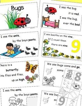 Bugs and Insects Theme Emergent Reader, Rhyme and Read, Cut and Paste Activities