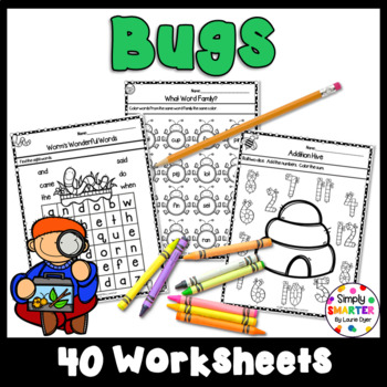 Bug and Insect Themed Kindergarten Math and Literacy Worksheets and Activities