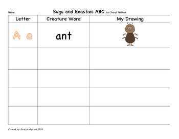 Bugs and Beasties ABC graphic Organizer