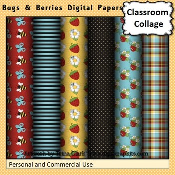Bugs and Berries Digital Papers Set Color  personal & commercial use