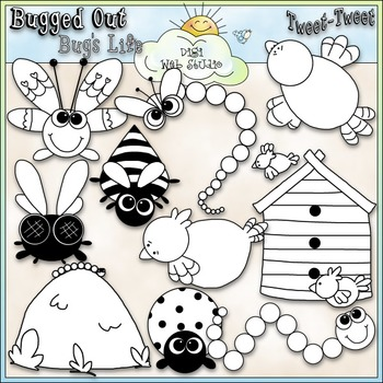 Bugs and Birds Clip Art - Insects Clip Art - Bugs Clip Art - CU Clip Art & B&W