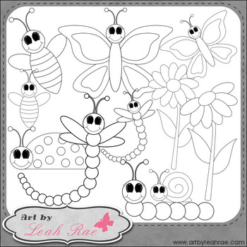 Bugs and Blooms 1 - Art by Leah Rae Clip Art & Line Art / Digital Stamps