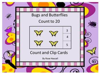 Math Center Counting to 20 Bugs and Butterflies Count and Clip Task Cards