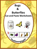 Spring Bugs and Insects Activities, Kindergarten Cut and Paste Worksheets