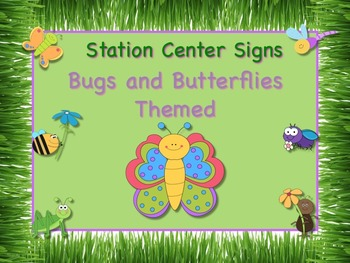 Bugs and Butterflies Themed Station/Center Signs Great Cla