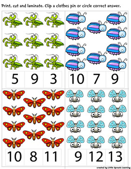 Bugs and Insects Count and Clip cards - Numbers 1 - 20