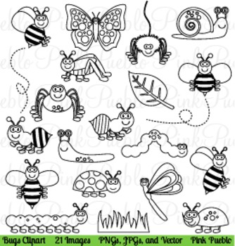 Bugs and Insects Line Art Clip Art Clipart