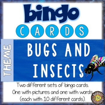 Bugs and Insects ESL Activities Bingo Cards