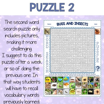 Bugs and Insects Word Search Puzzles