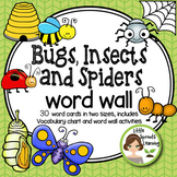 Bugs and Insects (plus spiders) Word Wall plus vocabulary chart, worksheets