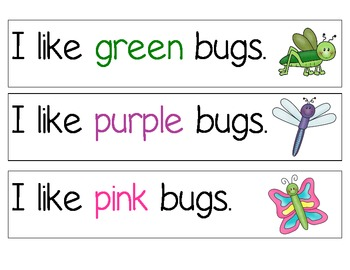 Bugs and Sight Words Sentence Strips