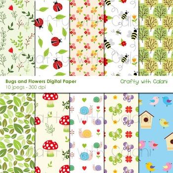 Bugs and Spring Flower Pattern Digital Paper Set