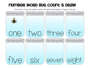 Bugs in a jar counting and matching math games- 4 Easy Prep Math Center