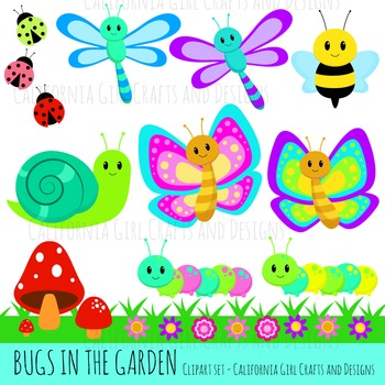 Bugs in the Garden Clipart Set - perfect for class projects!
