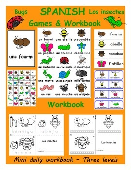 Bugs - insects / Los insectes SPANISH Workbook & Games Package