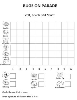 Bugs and Insects  Math, Learning Cube, Roll, Graph and Count