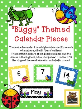 Bugs/Insect and Polka Dot Calendar Set w/Days of the Week!