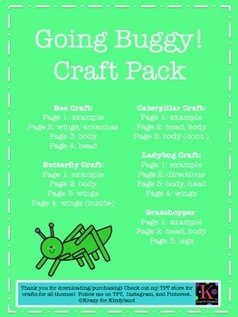 Bugs/Insects Crafts Value Pack: Butterfly,Ladybug,Caterpillar,Grasshopper,Bee