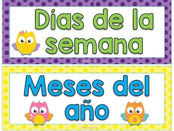 Búhos - Meses y días de la semana (Spanish Owls months and days)