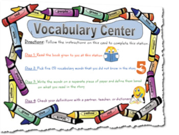 Building Vocabulary Center Task Card