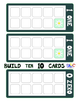 Build 10 Math Game Cards Board Size with Flowers