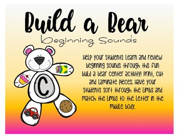 Build A Bear - Beginning Sounds A - Z