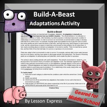Adaptations Activity Build A Beast