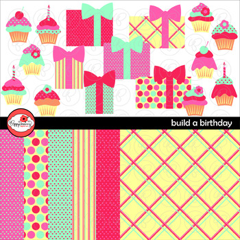 Build A Birthday Clipart and Digital Paper by Poppydreamz