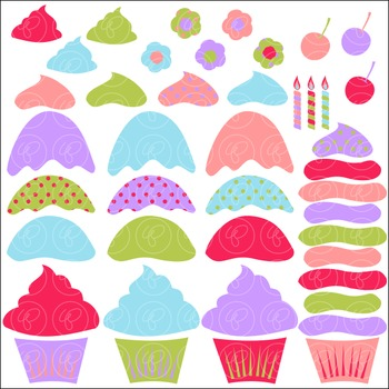 Build A Birthday Cupcake Clipart and Digital Paper by Poppydreamz