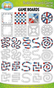 Build A Board Game Clipart Set 10 — Over 80 Colorful Graphics