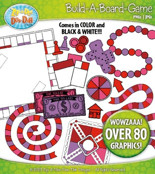Build A Board Game Clipart Set 11 — Over 80 Colorful Graphics