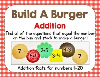 Build A Burger - Addition Facts to 20